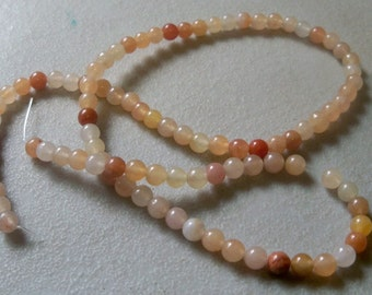"Natural Yellow Jade Gemstones-4mm-15-1/2"" Strand."