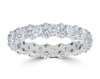 Diamond Eternity Ring , SI 2 3/8ct Diamond Wedding Ring, Stackable Diamond Ring 14k White Gold Womens Diamond Engagement Ring Band