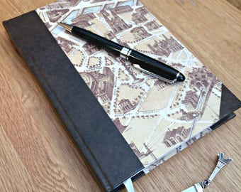 A5 handmade blank notebook - Hardback notebook - Handmade journal - Sketchbook - Vintage Paris map notebook - Unlined pages