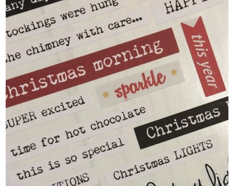 Christmas typography word strips for Scrapbooks, Cards, Journals and more