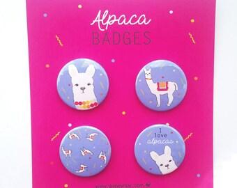 Alpaca Badges/Buttons/Pins 4 pack