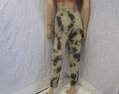 """80s 26"""" x 30"""" Wide Wale Cords Tie Dye Corduroy Jeans Pants Gray Beige"""