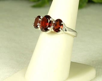 Garnet Ring, Size 7, Vivid Red Color, Large Garnets, Well Matched, Sterling Silver, January Birthstone, 3 Stone Garnet Ring, Red Garnet Ring
