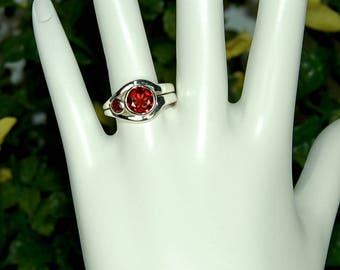 Garnet Ring, Size 8, Clear Red Garnets, 2 Stone Garnet Ring, Sterling Silver, January Birthstone, Natural Garnets, Red Garnet Ring