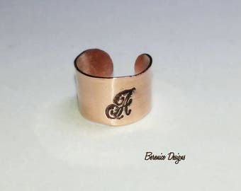 Copper Ear Cuff Letter A
