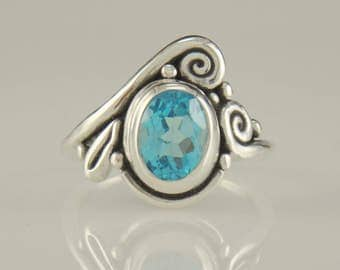 R945-Sterling Silver Blue Topaz Ring- One of a Kind