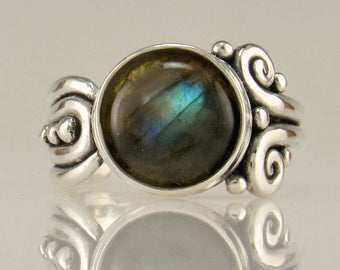 R1025-Sterling Silver Labradorite Ring- One of a Kind