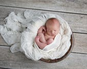 White Jersey Stretch Wrap for Newborn Photo Prop First Photo Session for Baby Boy or Girl Swaddle Wrap