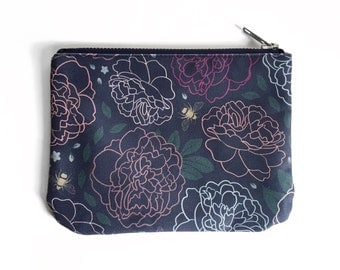 Small Zipper Pouch, Dark Floral Pattern, Moody Romantic Peony Print; Original Design, Bee Forget-Me-Not Floral Fabric, Cute Tampon Bag