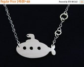 Submarine Necklace -  Silver Yellow Submarine Inspired Beatles Jewelry - Life Aquatic Jewelry - US Navy Wife Gift