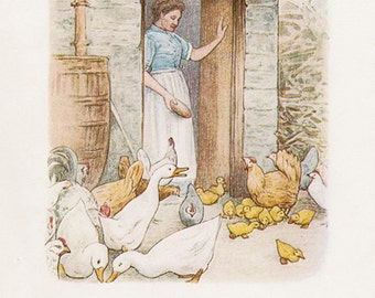 JEMIMA PUDDLE-DUCK  - Original Antique 1908 Book Plate - Beatrix Potter