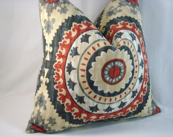 Red Indoor/Outdoor Pillow Red Medallion Pillow Decorative Toss Pillow 16x16 Pillow Cover