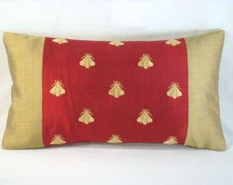 Silk Gold Bee Lumbar Pillow Cover Red Gold Decorative Accent Lumbar Pillow  Cover 16x9