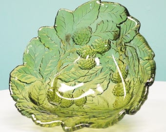Vintage Green Indiana Glass Candy/Nut Dish
