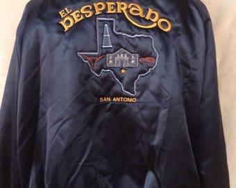 1980's satin bomber jacket El Desperado San Antonio Texas USA XL