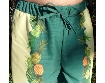 Pineapple Men's Border Print Board Shorts NO lining NO drawstring