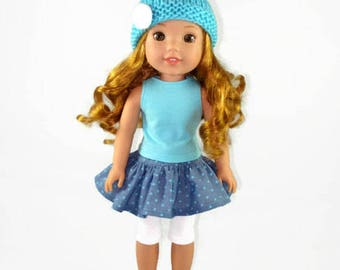 14 inch doll clothes, AG doll clothes, skirt, shirt, handmade hat,  designed to fit like wellie wishers™ doll clothes