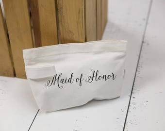 Maid of Honor gifts idea, Personalized makeup bag. Canvas zip bag for bridesmaid gift. Wedding party gift idea. Monogrammed girl makeup bags