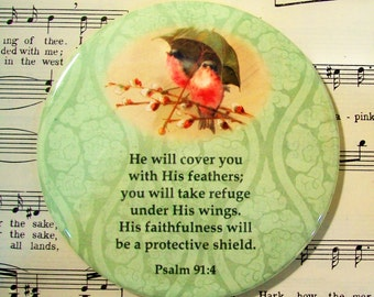 He will Cover You with His Feathers, Psalm 91:4, Large Magnet, Refrigerator Magnet, Scripture Magnet, Scripture Gift