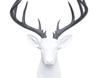 Large Deer Head - White and Gray Deer Head Wall Mount - 14 Point Stag Head Antlers Faux Taxidermy ND0115