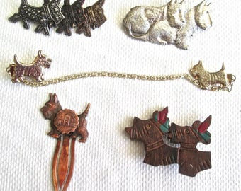 Five 1940s Scotty Dog Jewelry Brooches Pins Bookmark Sweater Guard