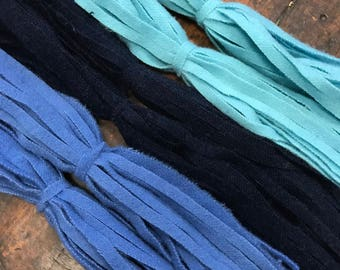The Blues - 150 #8 Sized Primitive Hand Cut Wool Strips for Rug Hooking