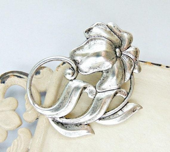 SALE Art Nouveau Hair Clip, Scrolling Flowers, Floral Hair Clip, Silver Ox Brass, Silver Hair Clip, Silver Flower, Art Deco Clip BOTANICA