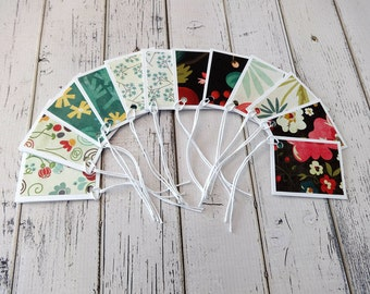 Gift Tags, Gift Tag Set, Assorted Gift Tags, Paper Tags, Folded Gift Tags, Blank Gift Tags, Set of 12 Folded Gift Tags, Gift Tag Set, Floral