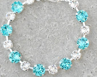Turquoise Bridesmaids Bracelet Swarovski Crystal Light Turquoise Clear Crystal Diamond Rhinestone Tennis Bracelet Something Blue Wedding
