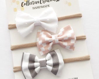 Baby Headbands - Small Bow Set - Newborn Baby Headband Bow Set - Aztec Baby Headband Set - Gray White Blush Pink Teensy Bow Set - Gift
