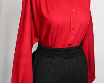 80s/90s Oxford shirt company wine red blouse