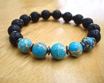 Men's Spiritual Strength, Fortune, Protection Bracelet with Semi Precious Blue Imperial Jasper, Black Lava, Gunmetal -  Bohemian Man