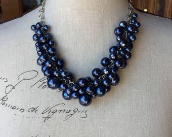 Navy blue super chunky necklace