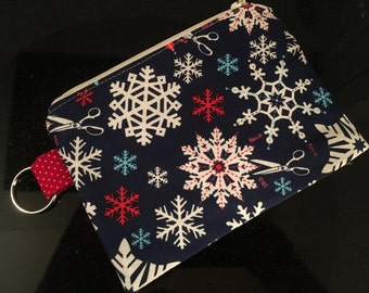 Paper Snowflake Zippered Pouch - stocking stuffer, teacher gift, notions case, gift card holder