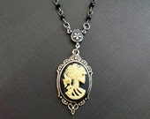 Steampunk Womens Skull Cameo Necklace Lolita Day of the Dead Necklace
