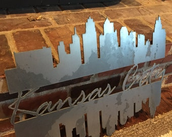 Metal Kansas City Skyline with river reflection
