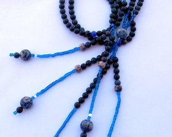 JUZU, Dumortierite, Aventurine and Sodalite NGI Nicheren JUZU, N G I Prayer Beads, Japanese Prayer Beads, Bodhisattvas Beads, Kyochi Myogo