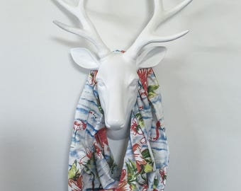 Infinity Scarf - Island Flamingo Floral - Cotton Jersey Blend Knit