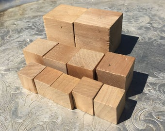 Destash Supply Listing 11 Wooden Cubes--3D Blank Wooden Blocks--Graduated Sizes--Craft Supply--Unpainted Unfinished Wood