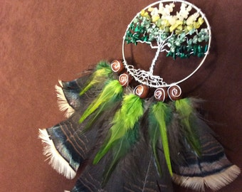 Dream Catcher- Tree of Life- Summer Tree Silver Dream Catcher- Made to Order