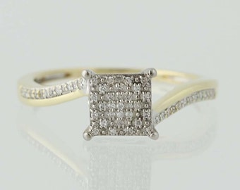 Composite Diamond Engagement Ring - 10k Yellow & White Gold Bypass .25ctw Unique Engagement Ring N4254