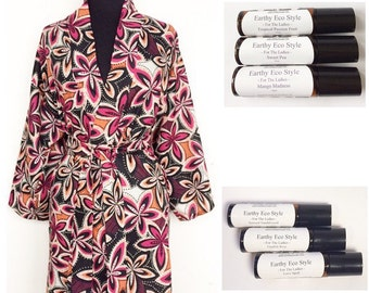 Hawaiian Graphic Floral Print Cotton Kimono With 3 Pack Roll On Fragrances