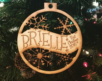 Brielle - Customizable Baby's First Christmas Ornament - Engraved Birch Wood Ornament