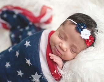 USA headband, baby elastic headband, red, white, blue, July 4, baby headband, infant headband, newborn headband, baby girl, elastic headband