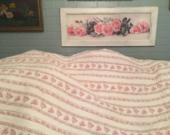 Collectible Simply Shabby Chic Rachel Ashwell pink roses striped ticking quilt all cotton fill and outer! Cutest one ever!