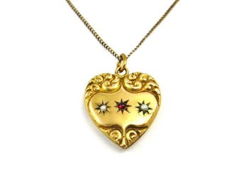 Victorian Necklace, Gold Puffy Heart Pendant Necklace, Heart Jewelry, Antique Gold Pendant, Garnet Pearl, Monogram Necklace, Antique Jewelry