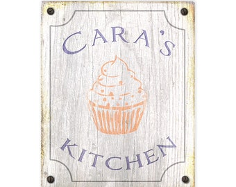 Custom Kitchen Sign - Customizable with your name - Rustic weathered wood sign - Country Kitchen decor - Rustic distressed home decor