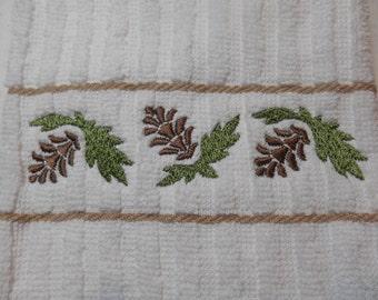Pine Cone Kitchen Towel, Pine Cone Embroidery, Kitchen Embroidery, Cotton Kitchen Towel with Beige Stripes, Woodland Cabin Deccor, Gift Idea