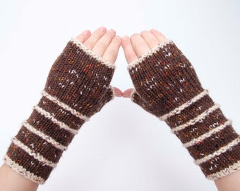 Knit striped fingerless gloves in brown   -  COLOR OPTION AVAILABLE