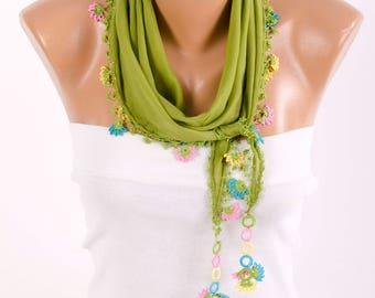 Summer scarf ,turkish oya scarf,green